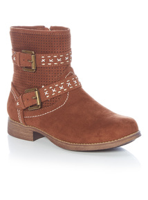 Girls Brown Embroidered Ankle Boots (3-12 years)