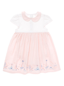 Pink Integrated Nappy Whale Embroidered Dress (0 - 12 months)