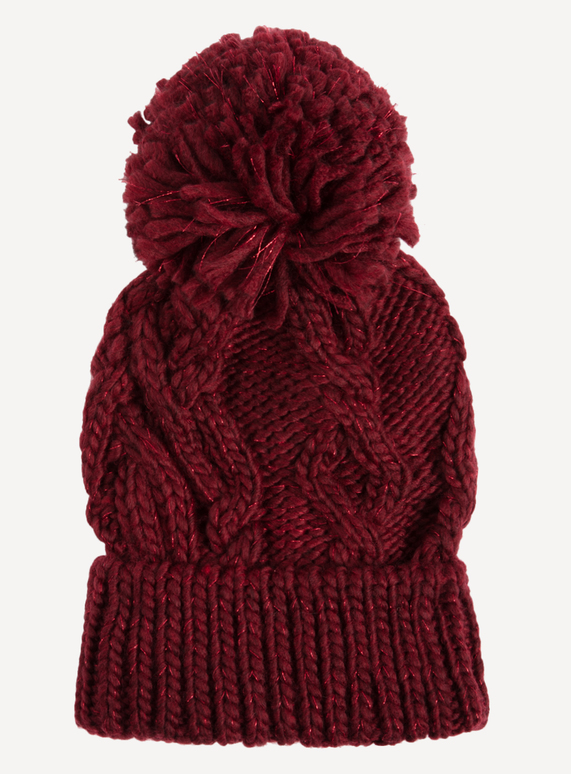 Womens Berry Red Cable Knit Pom-Pom Beanie Hat  08421d078