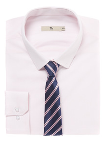 Pink Gingham Shirt With Tie