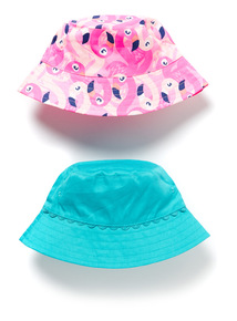2 Pack Multicoloured Flamingo Bucket Hats (1-9 years)