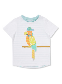 White 3D Parrot Embroidered T-Shirt (9 months-6 years)