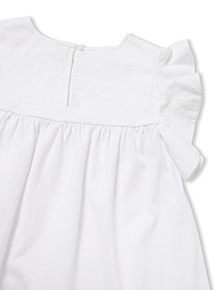 White Embroidered Frill Sleeve Top (3-14 years)