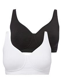 Black Cotton Comfort Non Wired Plunge Bra