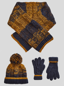 Multicoloured Beanie, Scarf And Gloves Set (3-16 years)
