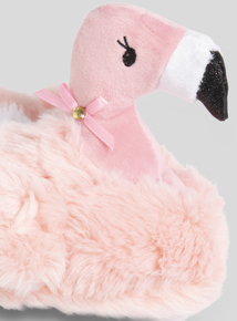 Pink Faux Fur Flamingo Slippers