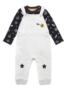 Grey Superhero Dungarees and Bodysuit Set (0-24 months)