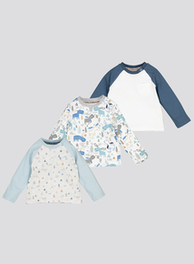Multicoloured Moose Tops 3 Pack (0-24 Months)