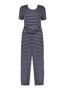 Navy Stripe Jersey Jumpsuit
