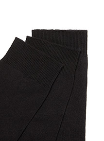 3 Pack Black Cotton Socks