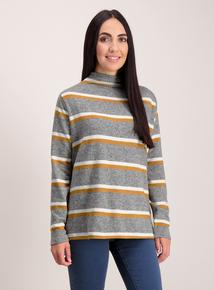 Grey Stripe Cowl Neck Top
