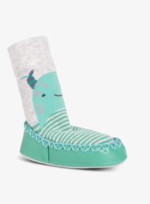 Green Monster Moccasin Slipper Socks