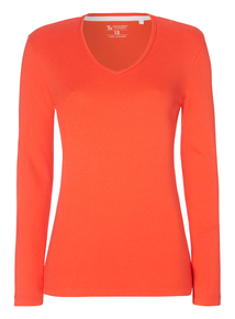 Red V-Neck Jersey Top