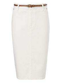 Cream Denim Belted Pencil Skirt