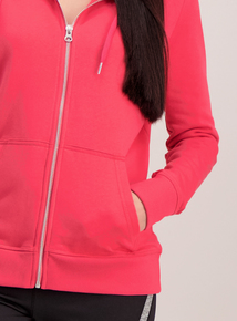 Bright Pink  Zip Front Hoodie