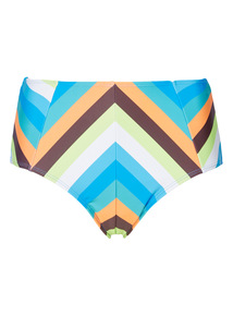 Multicoloured Stripe High Waisted Briefs