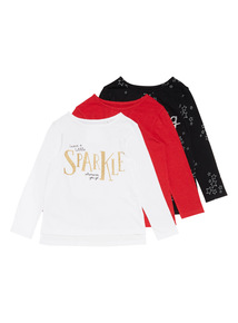 3 Pack Multicoloured Sparkle Tops (3-14 years)