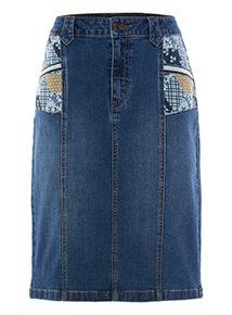 Mid Denim Patchwork Pencil Skirt
