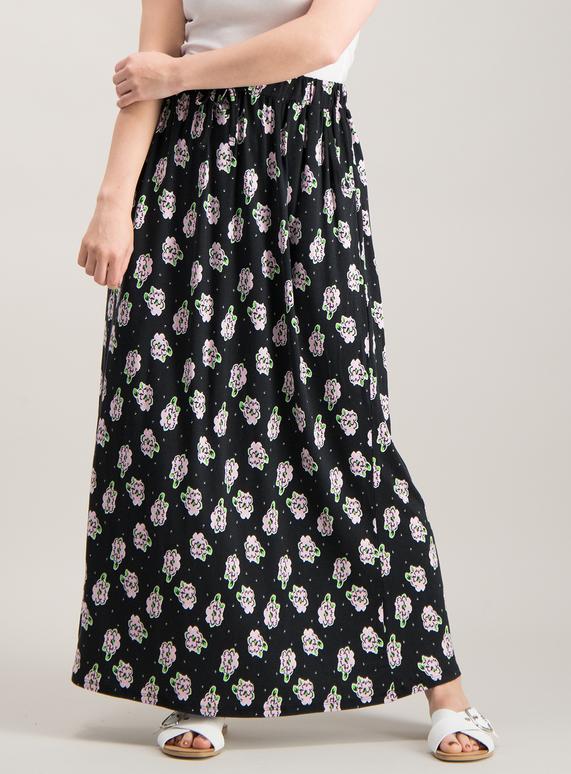 5f4714b45421cd Womens PETITE Black Floral Print Maxi Skirt   Tu clothing
