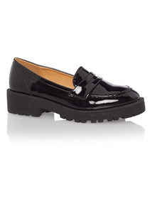 Black Patent Cleated Loafers