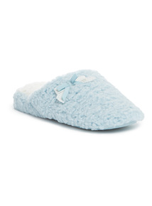 Blue Textured Wedged Slippers