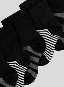Black Striped Socks 7 Pack (3 infant- 6.5 adult)