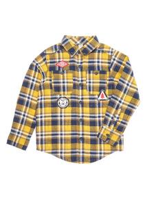 Mustard Check Badge Shirt