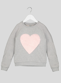 Grey Sweatshirt With Faux Heart Detail (3-12 years)