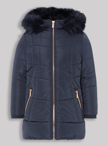Navy Puffa Coat (3-16 years)