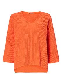 Orange Chenille V-Neck Jumper