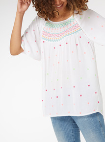 Neon Embroidered Longline Blouse