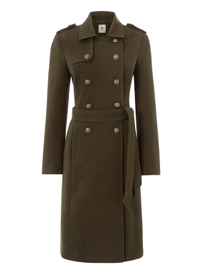 Womens Khaki Belted Military Coat | Tu clothing