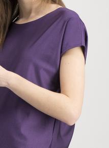 Active Purple Cap Sleeve Satin Top