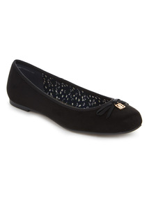 Black Square Toe Ballerina Shoes