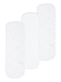 White Three Pack Burp Cloths