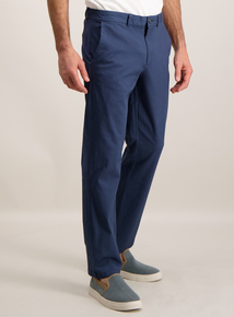 Mens Navy Blue Straight Chinos