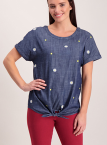 Navy Textured Daisy Embossed T-Shirt