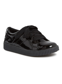 Black Patent Lace Up Creeper