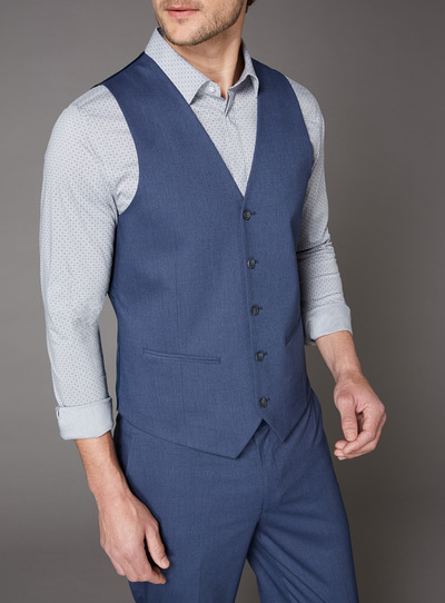 Online Exclusive Blue Texture Stretch Waistcoat