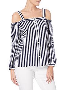 Multicoloured Stripe Cold Shoulder Top