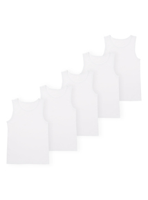 White Plain Vests 5 Pack (18 months-12 years)