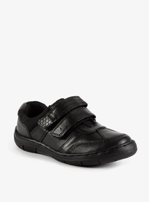 Online Exclusive Black Leather Twin One-Touch Strap Shoe (Sizes 8-6)
