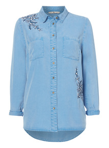 Blue Embroidered Tencel Shirt