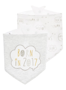 White Slogan Hanky Bibs 2 Pack