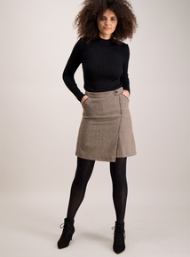 Brown Herringbone Check Skirt