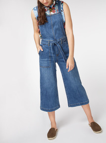Tie Waist Cropped Dungarees