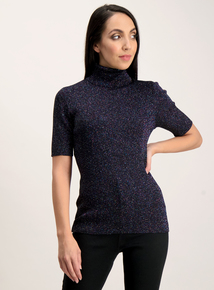 Online Exclusive Multicoloured Glitter Ribbed Top