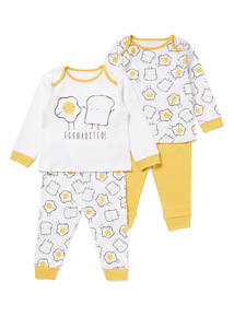 2 Pack White Breakfast Buddies Pyjamas (0-24 months)