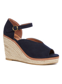 Navy Peep Toe Wedged Espadrille Sandals