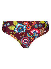 Multicoloured Flower Print High Waist Bikini Briefs